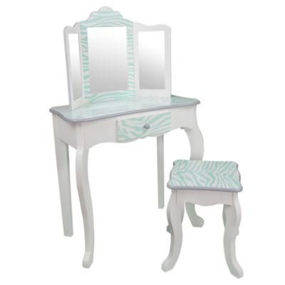 Teamson Kids Fashion Prints Vanity Table & Stool Set with Mirror Zebra (Aqua Blue/ White)