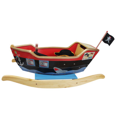Teamson Kids Pirate Ship Ride On Toy With Sword,Scope And Hat