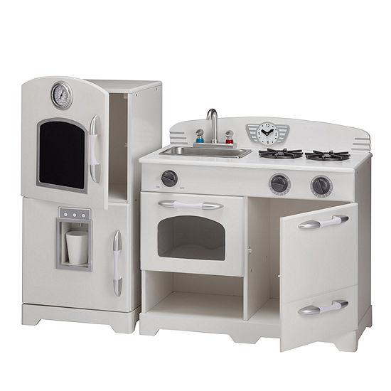 Teamson Kids Retro White Play Kitchen (2 Pieces)