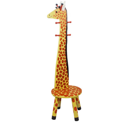 Teamson Kids- Safari Stool w/Coat Rack Giraffe