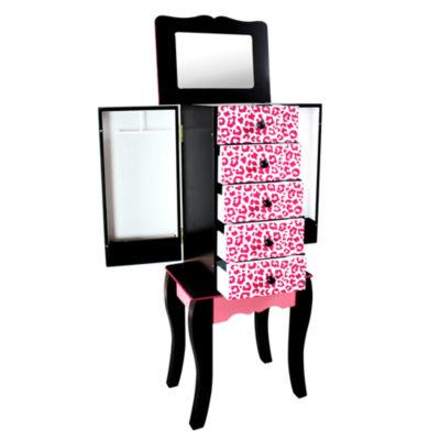 Teamson Kids Fashion Prints Jewelry Armoire Leopard (Pink / Black)