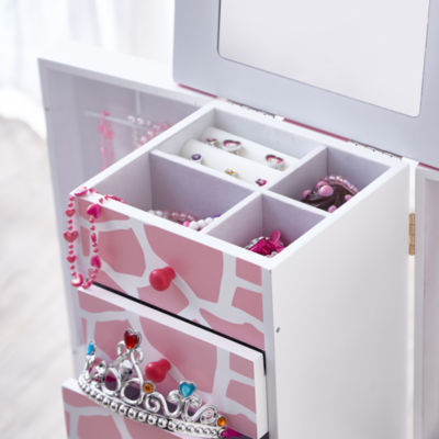 Teamson Kids Fashion Prints Jewelry Armoire Giraffe (Baby Pink / White)