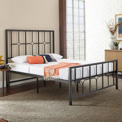Dream Innovations Starlet Oranate Design Black Metal Platform Bed Frame