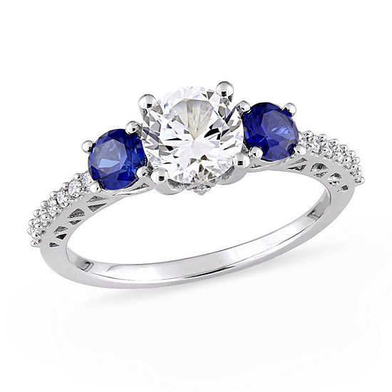 Modern Bride Gemstone Womens 1/7 CT. T.W. Lab Created White Sapphire 10K White Gold Engagement Ring