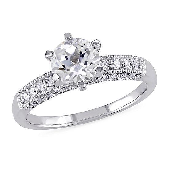 Modern Bride Gemstone Womens 1/4 CT. T.W. Lab Created White Sapphire 10K White Gold Engagement Ring