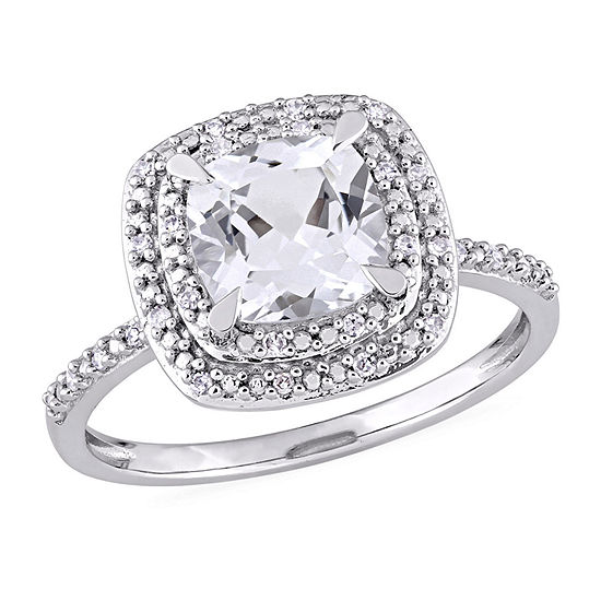 Modern Bride Gemstone Womens 1/10 CT. T.W. Lab Created White Sapphire 10K White Gold Engagement Ring