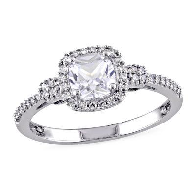 Modern Bride Gemstone Womens 1/6 CT. T.W. Lab Created White Sapphire 10K White Gold Engagement Ring