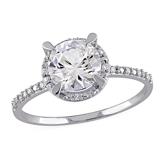 Modern Bride Gemstone Womens Diamond Accent Lab Created White Sapphire 10K White Gold Engagement Ring