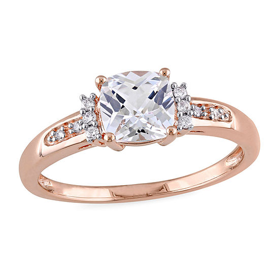 Modern Bride Gemstone Womens Diamond Accent Lab Created White Sapphire 10K Rose Gold Engagement Ring