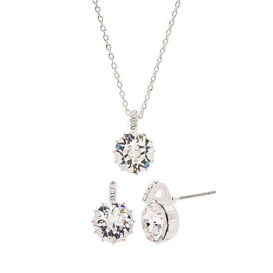 Sparkle Allure City Rocks -Swarovski - Made With Swarovski Elements 1/10 CT. T.W. Silver Tone Pure Silver Over Brass 3-pc. Jewelry Set