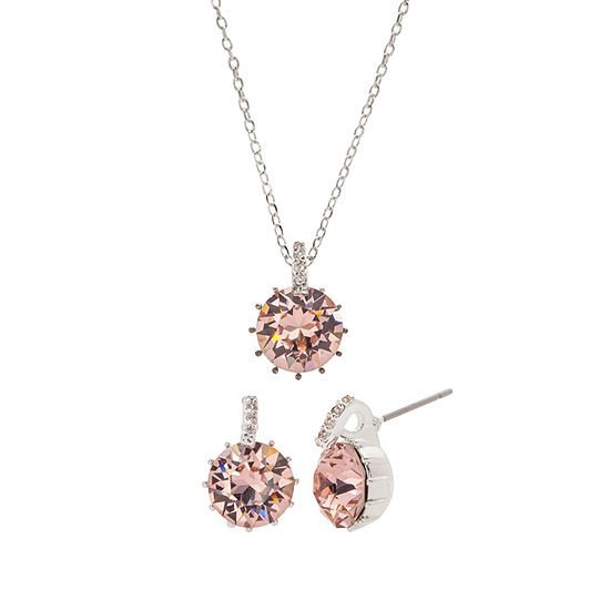 Sparkle Allure City Rocks -Swarovski - Made With Swarovski Elements 1/10 CT. T.W. Pink Silver Tone Pure Silver Over Brass 3-pc. Jewelry Set