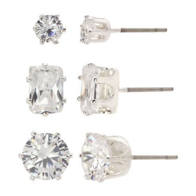 Sparkle Allure 3 Pair Cubic Zirconia Pure Silver Over Brass Earring Set