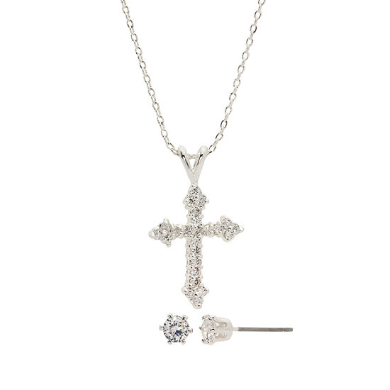 Sparkle Allure 3-pc. Pure Silver Over Brass Cross Jewelry Set