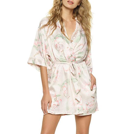Jezebel Womens Satin Robes 3 4 Sleeve Short Length Kimono