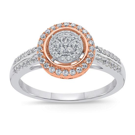 Womens 1 2 Ct Tw Genuine White Diamond 10k Two Tone Gold Engagement Ring