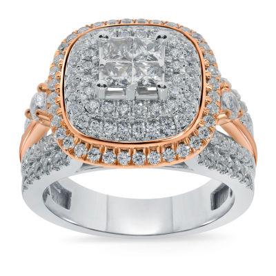 Womens 1 3/4 CT. T.W. Genuine White Diamond 14K Two Tone Gold Engagement Ring