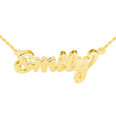 Personalized Womens 24K Gold Over Silver Pendant Necklace