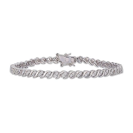 1 CT. T.W. Genuine White Diamond Sterling Silver Tennis Bracelet