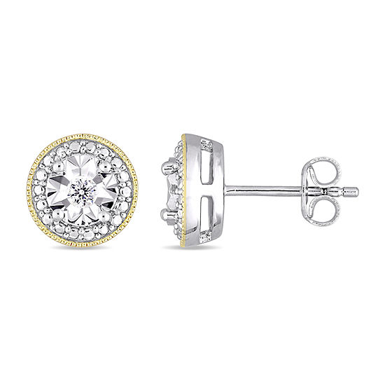 1/10 CT. T.W. Genuine White Diamond 18K Gold Over Silver Sterling Silver 9.2mm Stud Earrings