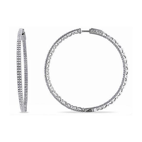 2 CT. T.W. Genuine White Diamond Sterling Silver 55mm Hoop Earrings