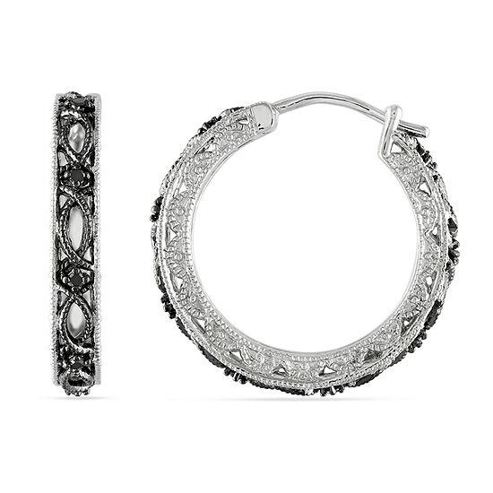 Midnight Black 1/10 CT. T.W. Genuine Black Diamond Sterling Silver 20.5mm Hoop Earrings