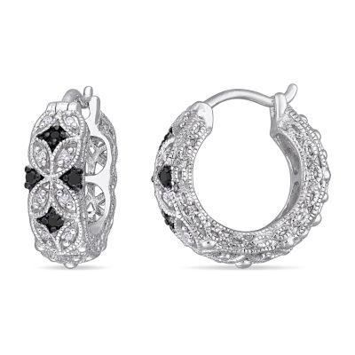 Midnight Black 1/6 CT. T.W. Genuine Black Diamond Sterling Silver 16.1mm Hoop Earrings