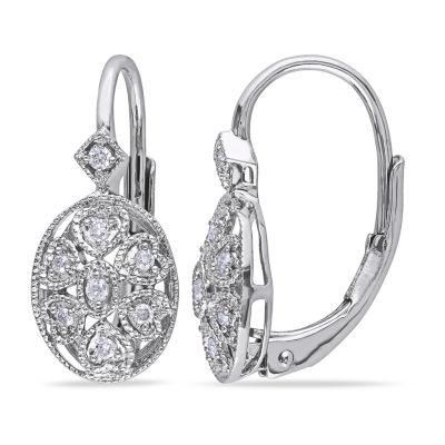 1/8 CT. T.W. Genuine White Diamond Drop Earrings