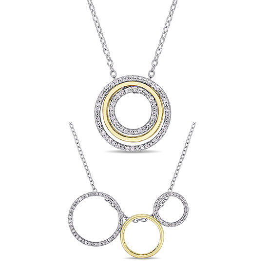 Womens 1/6 CT. T.W. Genuine White Diamond 18K Gold Over Silver Sterling Silver Pendant Necklace