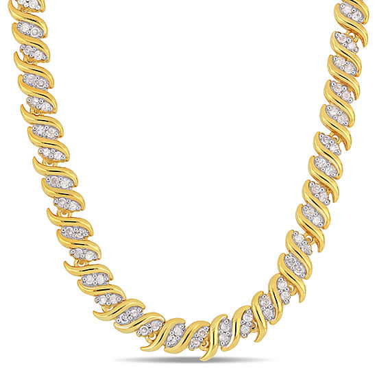 Womens 2 CT. T.W. Genuine White Diamond 18K Gold Over Silver Tennis Necklaces