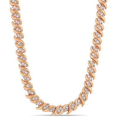 Womens 1 CT. T.W. Genuine White Diamond 18K Rose Gold Over Silver Tennis Necklaces