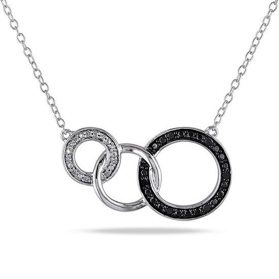 Midnight Black Womens 1/10 CT. T.W. Genuine Black Diamond Sterling Silver Pendant Necklace