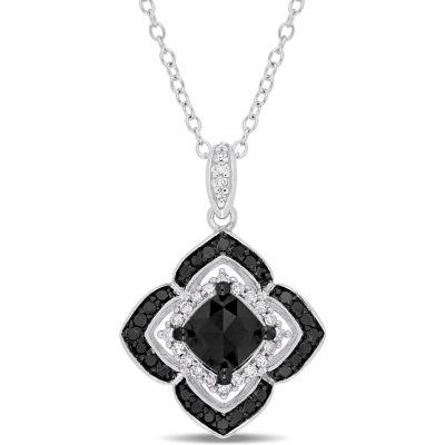 Midnight Black Womens 1 1/3 CT. T.W. Genuine Black Diamond Sterling Silver Pendant Necklace