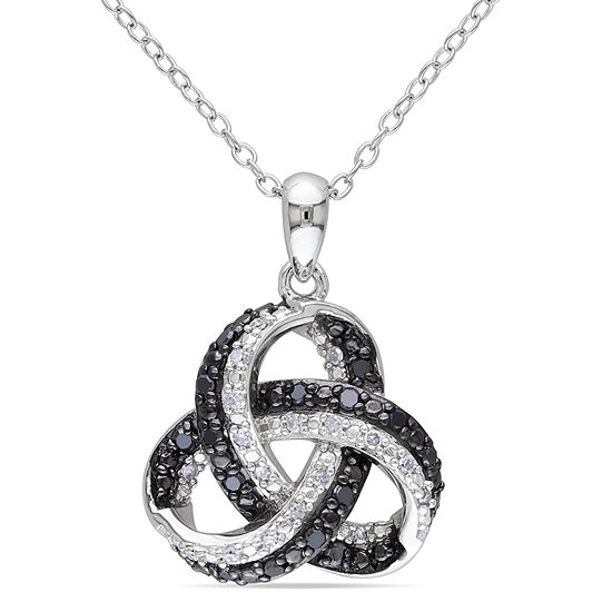 Midnight Black Womens 1/4 CT. T.W. Genuine Black Diamond Sterling Silver Pendant Necklace