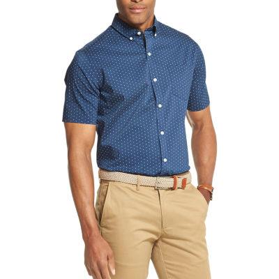 Van Heusen Flex Non Iron Stretch Mens Short Sleeve Dots Button-Front Shirt Big and Tall