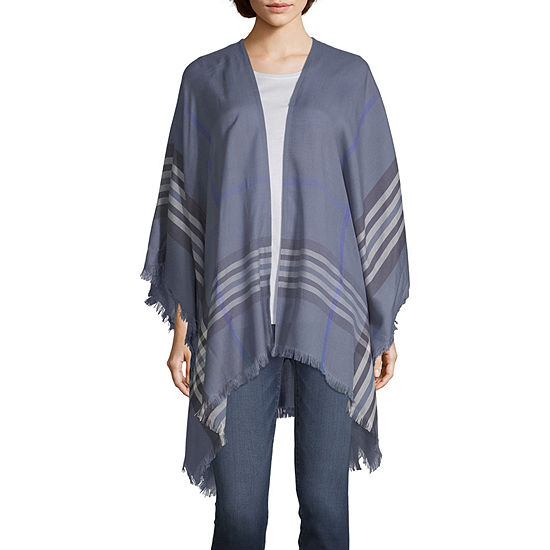 V-Frass Border Plaid Wrap Womens 3/4 Sleeve Kimono