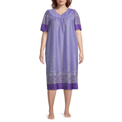 Womens Short Sleeve Sweetheart Neck Nightgown-Plus