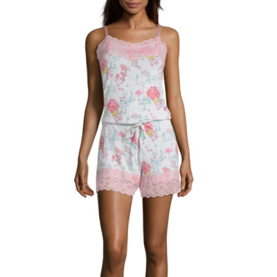 Macbeth Collection by Margaret Josephs Women's Lace Trim Romper Pajamas