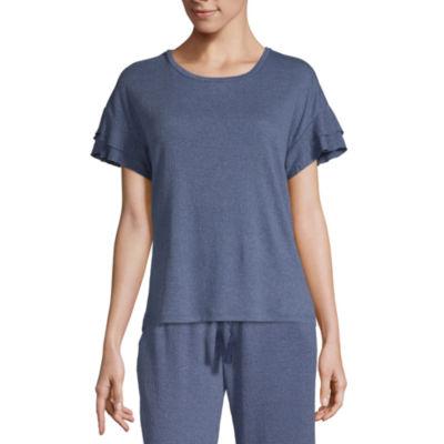 Laura Ashley Gauze Womens Knit Pajama Top Ruffled Sleeve