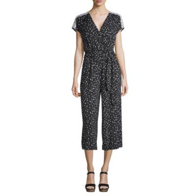 Spense Short Sleeve Dots Wrap Dress
