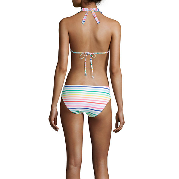 City Streets Striped Halter Swimsuit Top