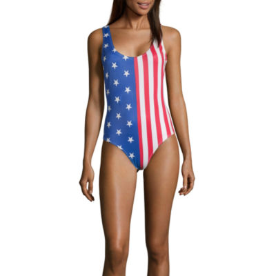 City Streets Striped One Piece Swimsuit Juniors