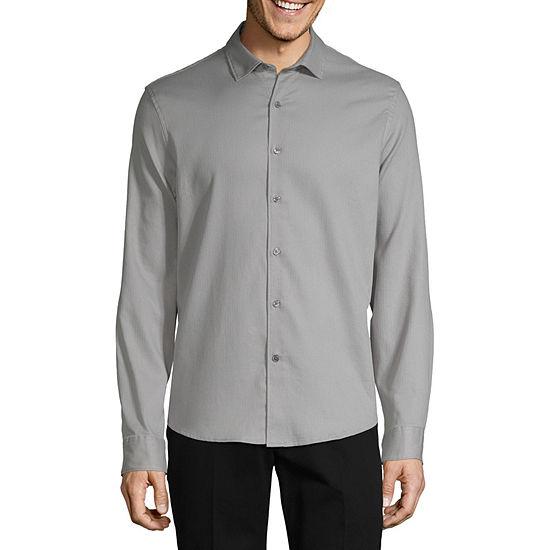 Claiborne Men's No Tuck Long Sleeve Solid Button Down Shirt