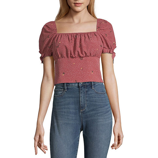 Society And Stitch Square Neck Short Sleeve Blouse-Juniors