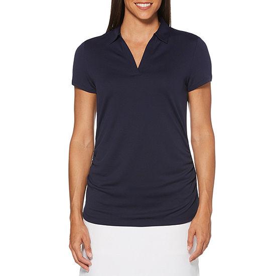PGA TOUR Womens Y Neck Short Sleeve Polo Shirt
