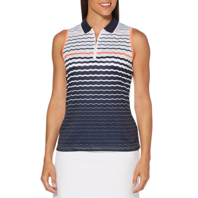 PGA TOUR Womens Collar Neck Sleeveless Polo Shirt