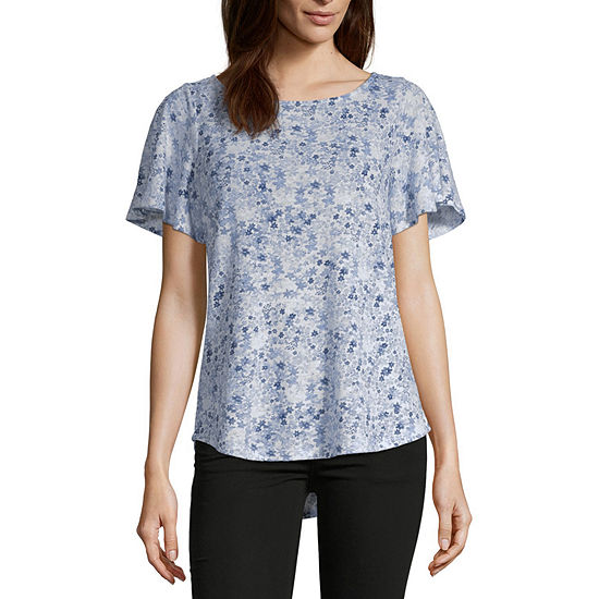 Liz Claiborne Womens Round Neck Short Sleeve T Shirt