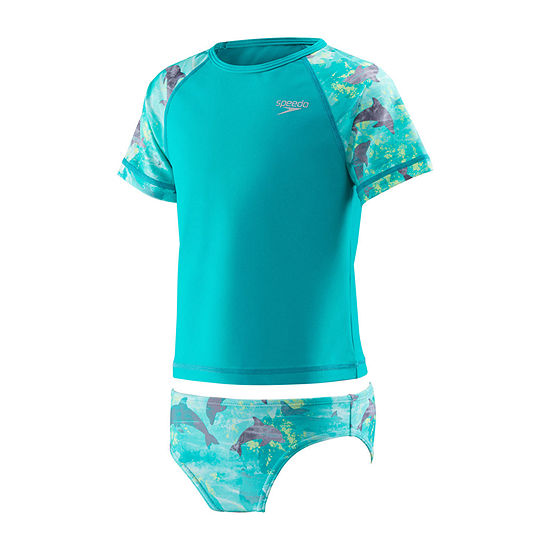 Speedo Girls Rash Guard Set - Preschool