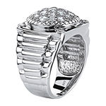 Diamonart Mens 1 5/8 CT. T.W. White Cubic Zirconia Platinum Over Silver Fashion Ring
