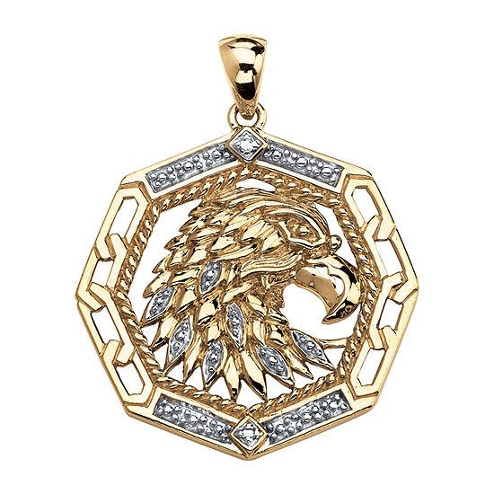Eagle Mens Diamond Accent Genuine White Diamond 18K Gold Over Silver Round Pendant