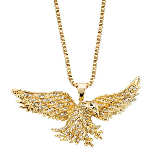 DiamonArt® Mens 1 CT. T.W. White Cubic Zirconia 14K Gold Over Brass Round Pendant Necklace